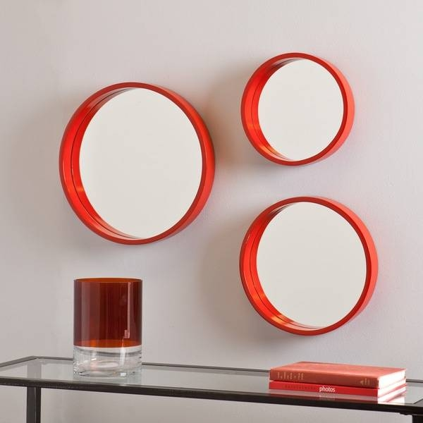 Holly And Martin Daws Red Orange Wall Mirror 3Pc Set – Free Throughout Orange Wall Mirrors (#9 of 15)