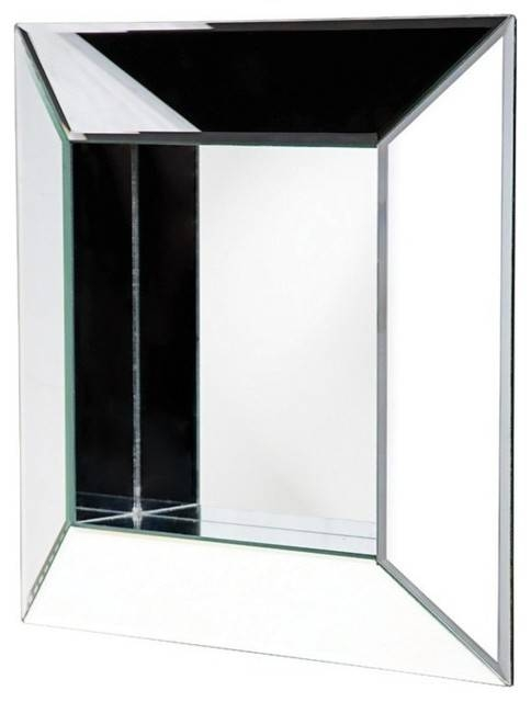 Howard Elliott 11034 Amalfi Contemporary Box Frame Glass Mirror Inside Glass Wall Mirrors (#5 of 15)