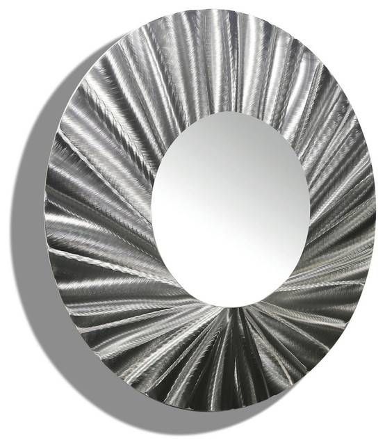Huge Silver Handmade Round Metal Wall Mirror Contemporary Modern Regarding Black And Silver Wall Mirrors (View 15 of 15)