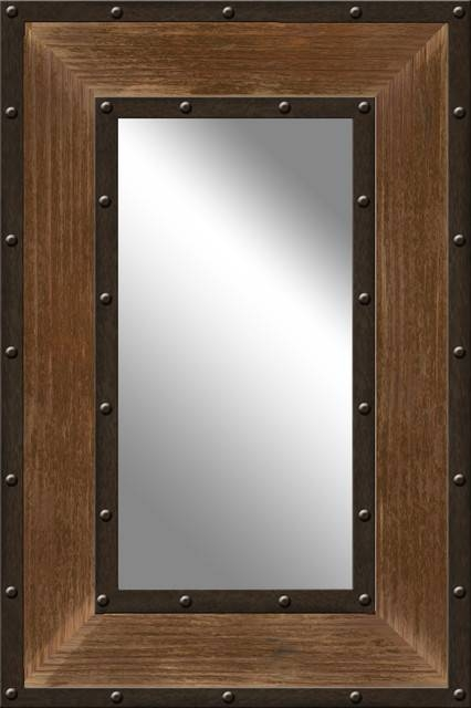 Industrial Metal And Wood Mirror – Rustic – Wall Mirrors  Ptm Within Rustic Wall Mirrors (#8 of 15)