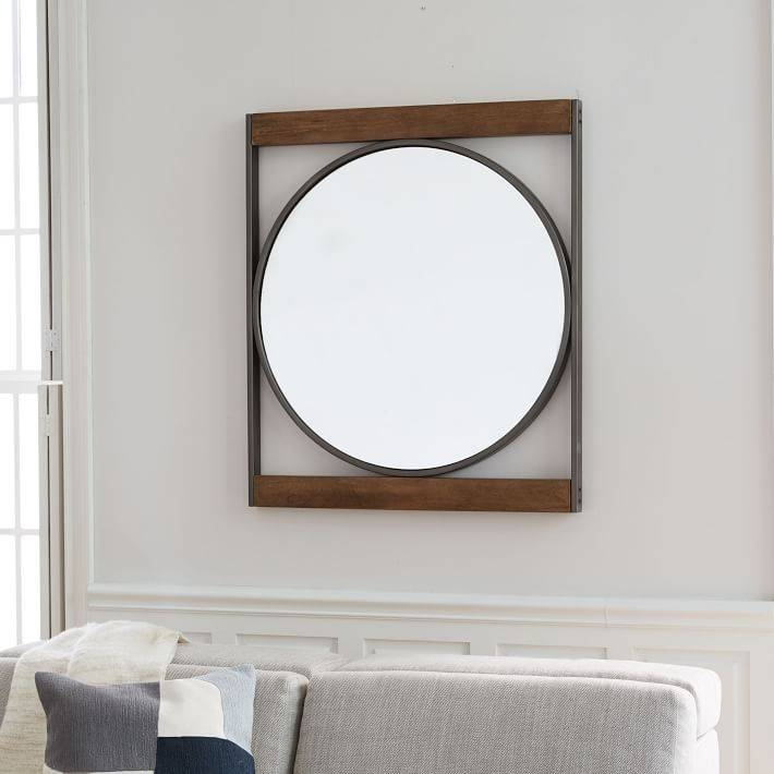 Industrial Metal + Wood Round Wall Mirror | West Elm Throughout West Elm Wall Mirrors (View 11 of 15)