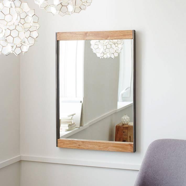 Industrial Metal + Wood Wall Mirror | West Elm Regarding West Elm Wall Mirrors (#4 of 15)