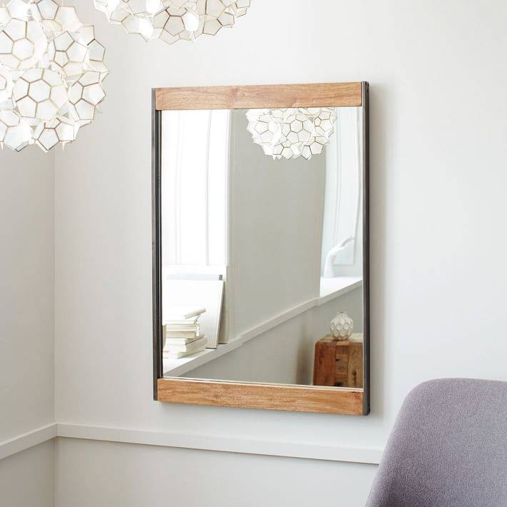 Industrial Metal + Wood Wall Mirror | West Elm With Wall Mirrors With Shelf (#10 of 15)