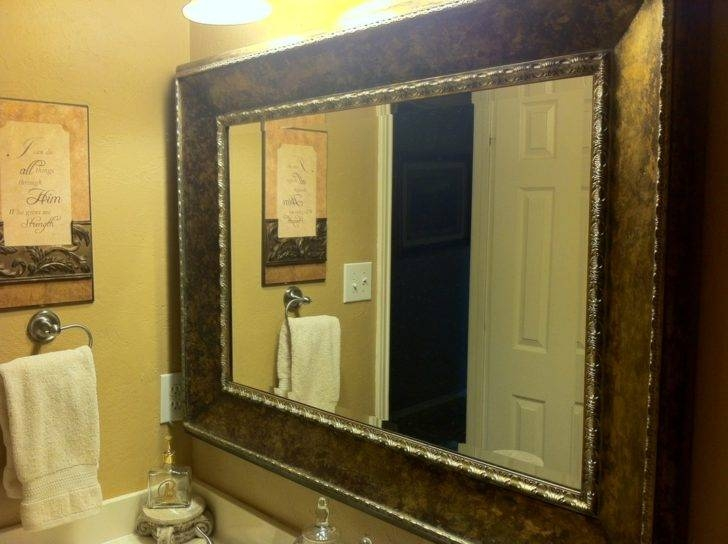 Interior : Gorgeous Bathroom Wall Decoration With Silver Framed With Frame Bathroom Wall Mirrors (#12 of 15)