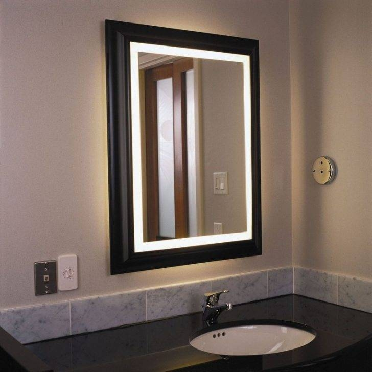 Interior : Wonderful Bathroom Wall Decoration With Bathroom Mirror Pertaining To Wall Mirrors With Light (#6 of 15)