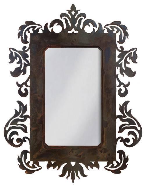 Iron Wall Art Mirror | Houzz Within Damask Mirrors (#12 of 15)
