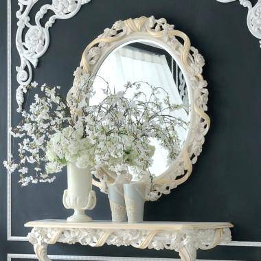 Italian Rose And Ribbon Oval Reproduction Wall Mirror Modern Pertaining To Italian Wall Mirrors (#10 of 15)