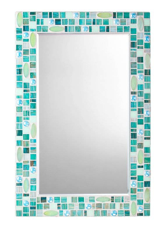 Items Similar To Wall Mirror – Teal Mosaic With Light Green With Turquoise Wall Mirrors (#11 of 15)