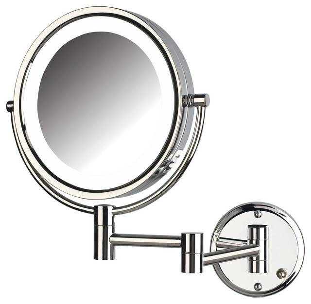 Jerdon Hl88Cld 8X Magnified Lighted Wall Mount Mirror, Chrome With Regard To Cosmetic Wall Mirrors (#6 of 15)