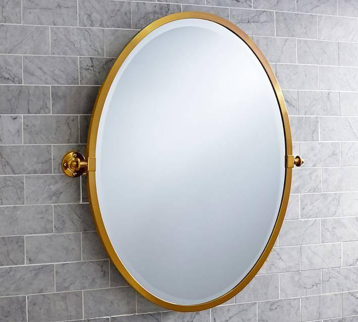 Kensington Pivot Oval Mirror | Pottery Barn Within Pivoting Wall Mirror (View 13 of 15)
