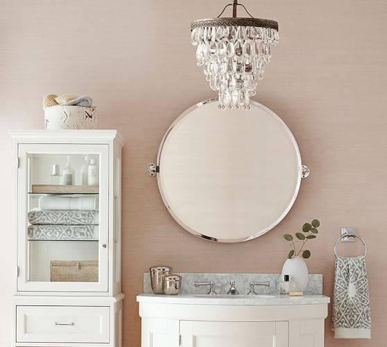 Kensington Pivot Round Mirror | Pottery Barn Within Pivoting Wall Mirror (View 15 of 15)