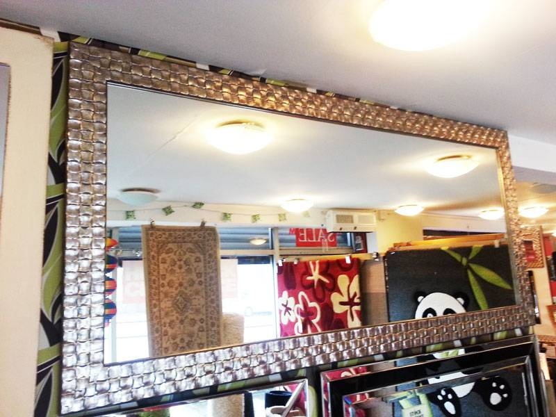 Large Antique Silver Mosaic Wood Frame Wall Mirror 160X75Cm Regarding Large Wall Mirrors Without Frame (#10 of 15)