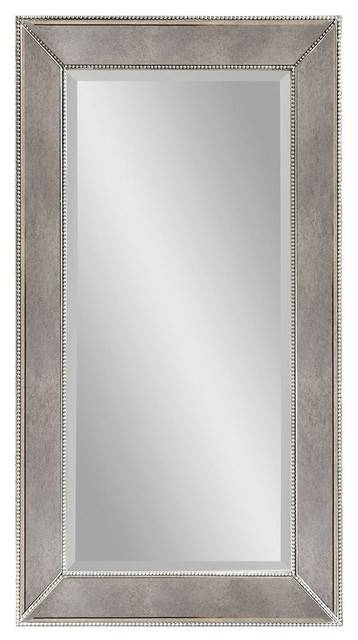 Large Antique Silver Rectangle Wall Mirror – Contemporary – Wall With Large Contemporary Wall Mirrors (#9 of 15)
