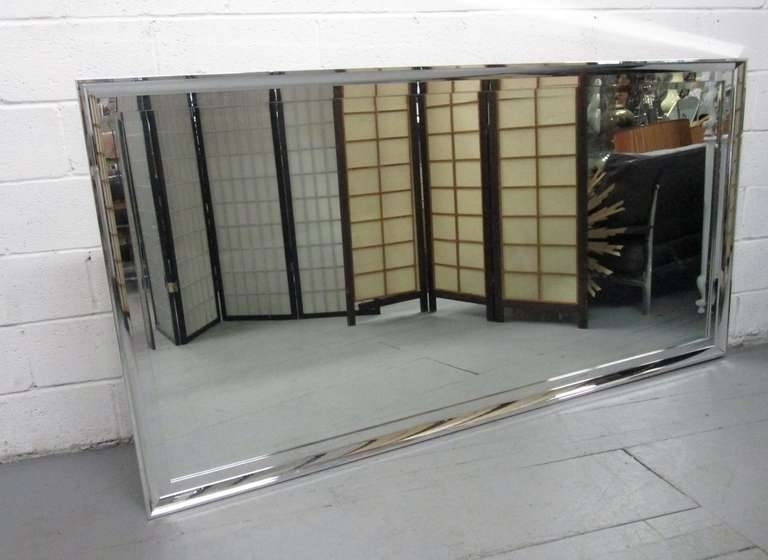 Large Chrome Framed Beveled Mirror For Sale At 1stdibs Intended For Large Beveled Wall Mirrors (View 14 of 15)