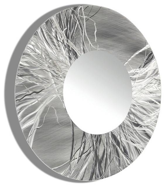 Large Framed Round Wall Mirror Handmade Silver Modern Metal Wall Inside Contemporary Black Wall Mirrors (#12 of 15)
