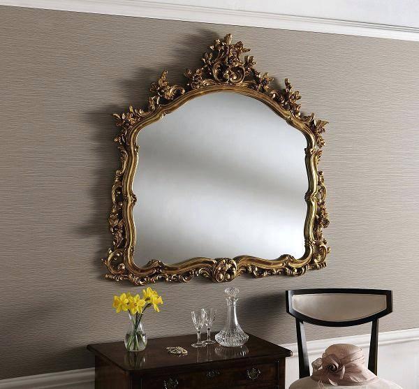 Large Frameless Rectangular Wall Mirror Large Wall Mirror Gold Inside Large Gold Wall Mirrors (#12 of 15)