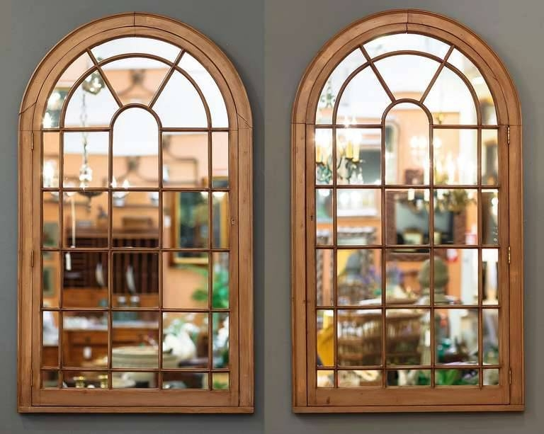 Large Georgian Arched Window Pane Mirrors (H 49 3/4 X W 28 1/2) At Regarding Window Wall Mirrors (#11 of 15)