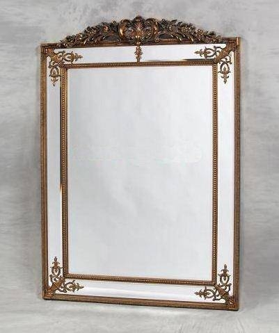Large Gold Decorative Framed Wall Mirror With Crest Top – £ (#10 of 15)