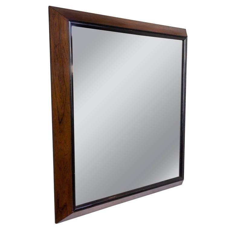 Large Mid Century Modern Rosewood Framed Mirror Reshoot For Sale Within Modern Framed Mirrors (#10 of 15)