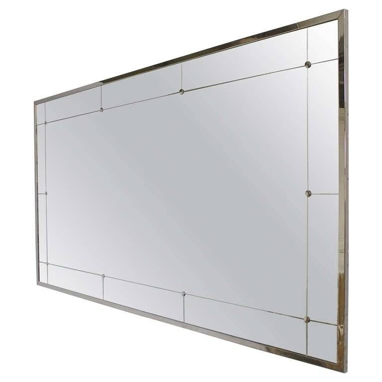 Large Modern Rectangular Mirror With Nickel Plated Metal Frame At Inside Large Rectangular Wall Mirrors (#11 of 15)