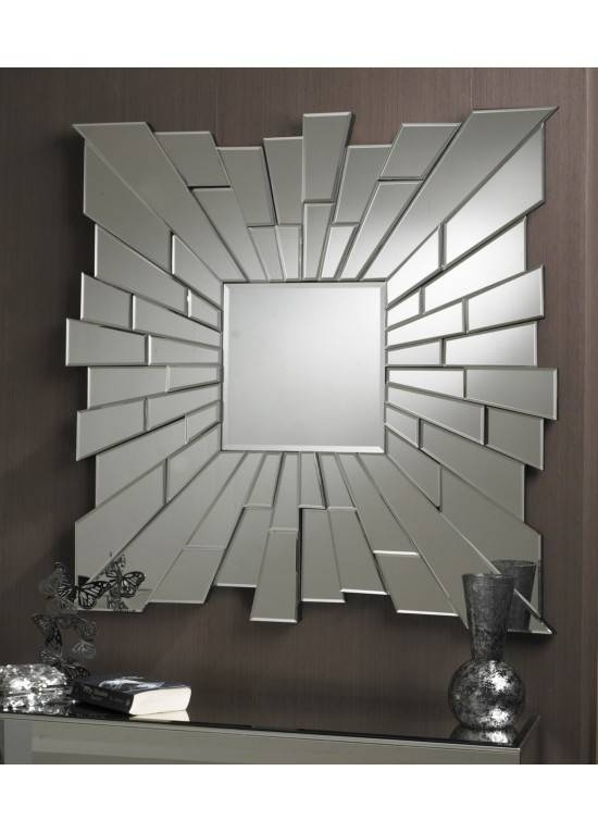 Large Modern Royale Square Brilliant Large Designer Wall Mirrors Intended For Large Contemporary Wall Mirrors (#11 of 15)