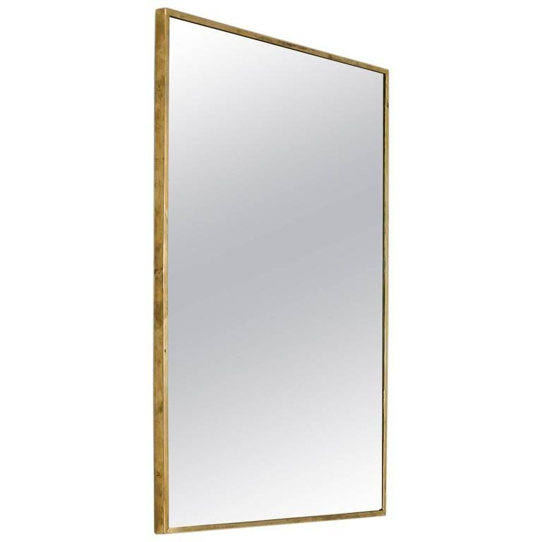 Large Rectangular Brass Wall Mirror, Italy, 1950s For Sale At 1stdibs In Rectangle Wall Mirrors (View 13 of 15)