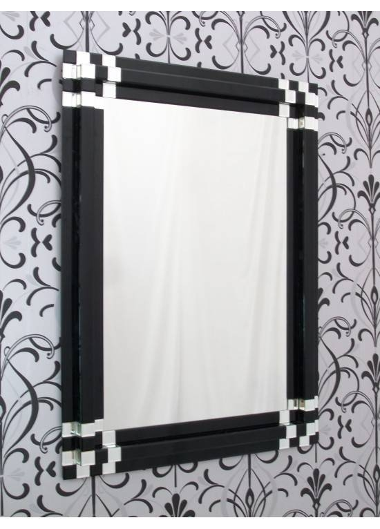 Large Rectangular Modern Block Black Glass Wall Mirror With Black Rectangle Wall Mirrors (#11 of 15)