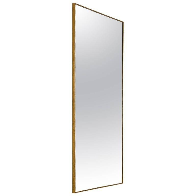 Large Rectangular Wall Mirror With Beaded Brass Frame, Italy Pertaining To Rectangle Wall Mirrors (View 7 of 15)
