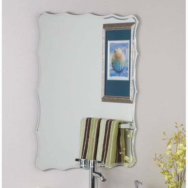 Large Round Frameless Wall Mirror Large Frameless Rectangular Wall With Regard To Frameless Molten Wall Mirrors (#10 of 15)