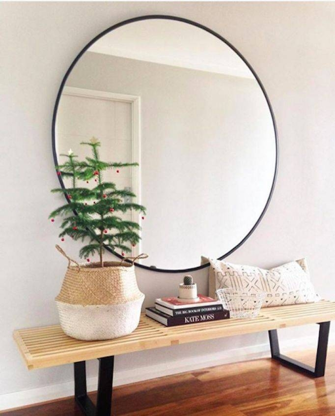 Large Round Mirror With Wood Frame – Round Designs Pertaining To Big Round Wall Mirrors (#10 of 15)