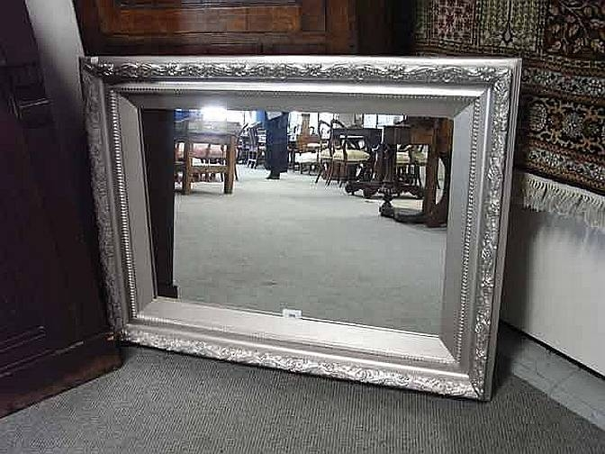 Large Silver Framed Wall Mirror… – Antiques & Decorative Arts Throughout Large Silver Framed Wall Mirror (#10 of 15)