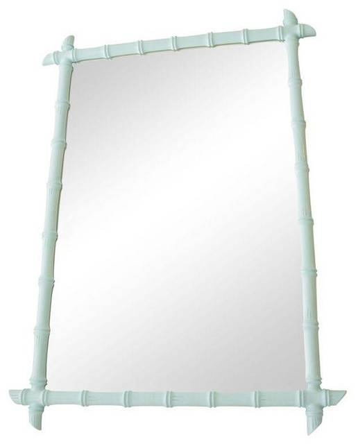 Large Vintage Aqua Faux Bamboo Mirror With Bamboo Wall Mirrors (#10 of 15)
