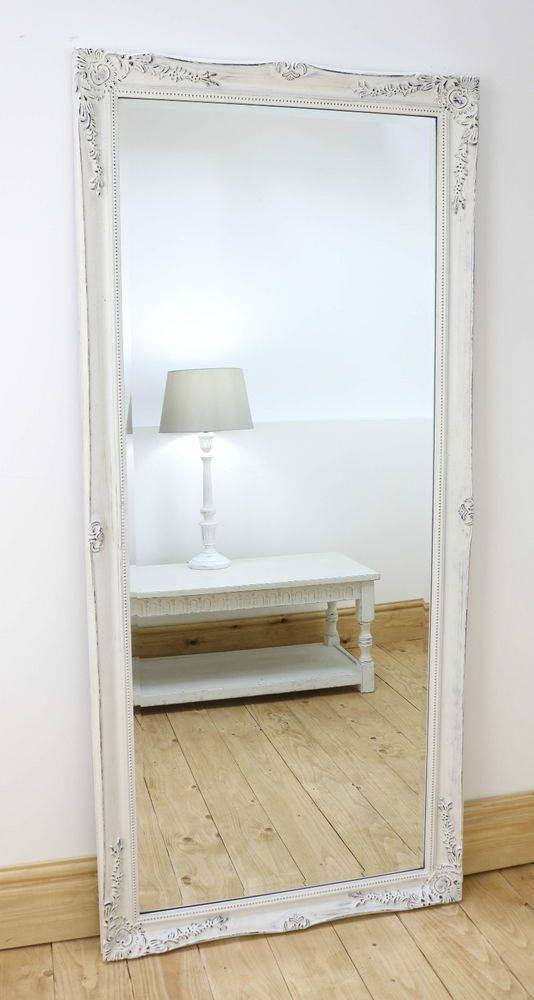 Large Vintage Wooden Oak Framed Full Length Dressing Wall Mirror In Full Length White Wall Mirrors (#10 of 15)