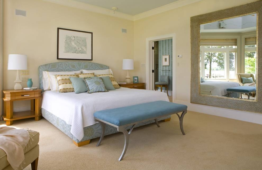 Large Wall Mirrors Bedroom Contemporary With Bench Seat Butter For Large Wall Mirrors For Bedroom (#12 of 15)