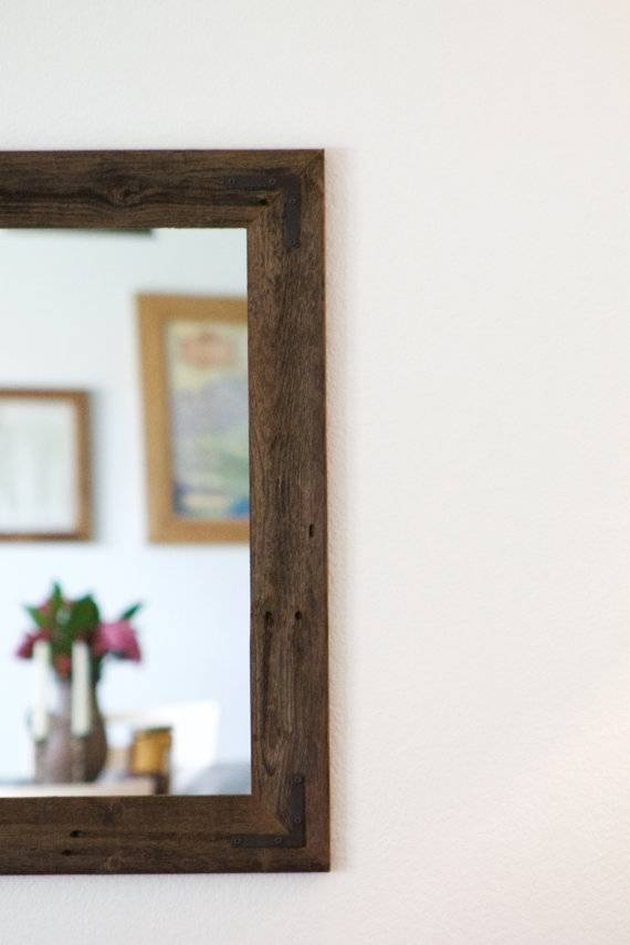 Large Wood Mirror Rustic Wall Mirror Large Wall Mirror Pertaining To Large Wall Mirrors With Wood Frame (View 3 of 15)