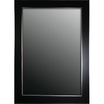 Latitude Run Schaffner Semi Matte Black With Silver Trim Edges In Black Wall Mirrors (View 5 of 15)