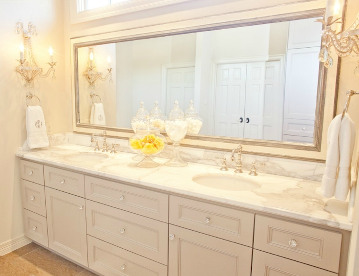 Light Gray Double Vanity – Transitional – Bathroom – Munger Interiors Intended For Double Vanity Bathroom Mirrors (#11 of 15)