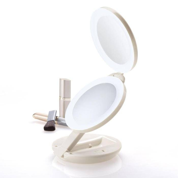 Lighted Travel Makeup Mirrors At Brookstone—Buy Now! With Regard To Lit Makeup Mirrors (#7 of 15)