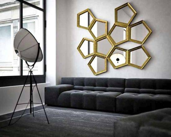 Living Room Decorating Ideas With Mirrors | Ultimate Home Ideas Regarding Geometric Wall Mirrors (#7 of 15)