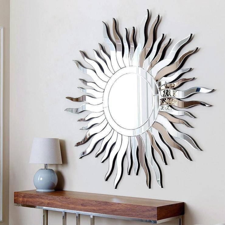 Living Sol Round Silver Wall Mirror Regarding Sun Wall Mirrors (#10 of 15)