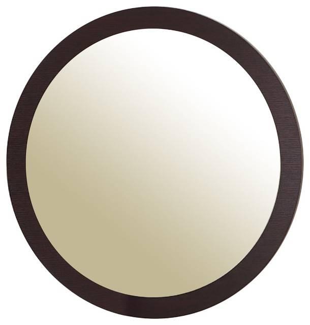 Loft Round Wall Mirror, Espresso – Contemporary – Wall Mirrors Within Espresso Wall Mirrors (#7 of 15)
