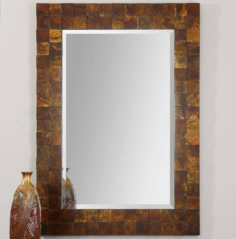 Loon Peak Mosaic Rectangle Copper Wall Mirror & Reviews | Wayfair Pertaining To Copper Wall Mirrors (View 4 of 15)