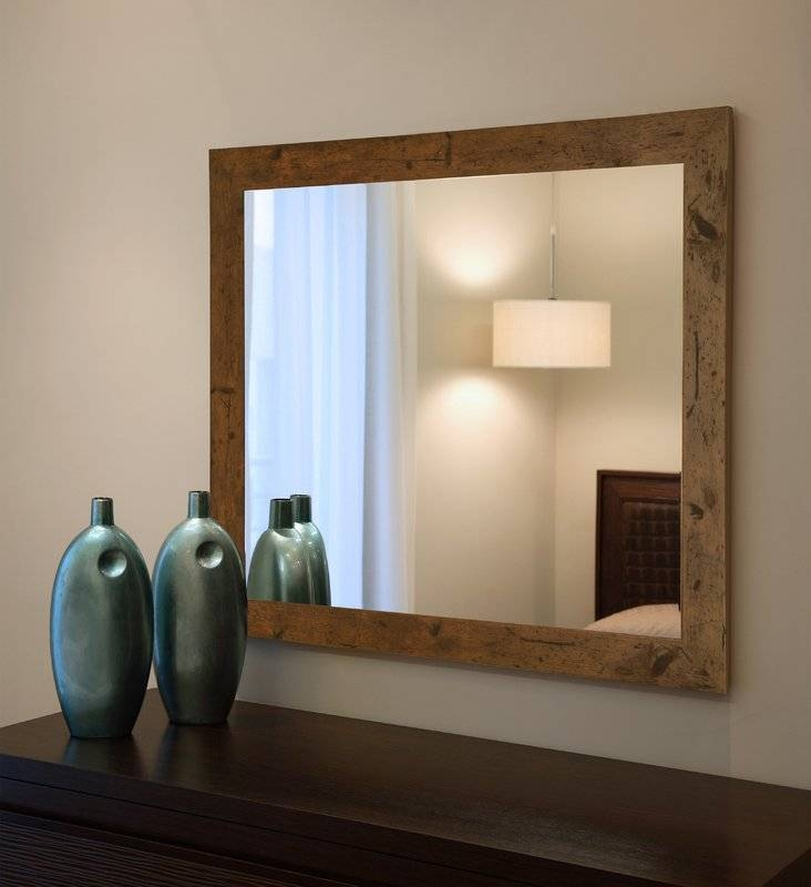Loon Peak Rustic Light Walnut Wall Mirror & Reviews | Wayfair Intended For Rustic Wall Mirrors (#10 of 15)