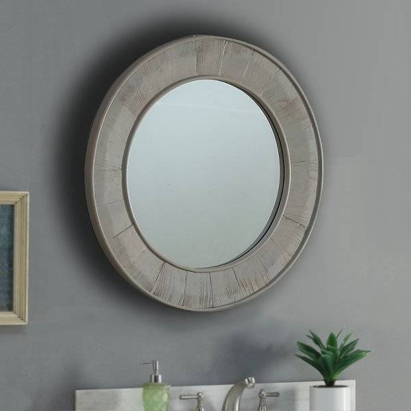 Loon Peak Vice Round Gray Wall Mirror & Reviews | Wayfair With Grey Wall Mirrors (#10 of 15)