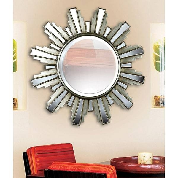 Luminary 34 Inch 'sun Ray' Antique Silver Wall Mirror – Free Pertaining To Sun Ray Wall Mirrors (View 2 of 15)