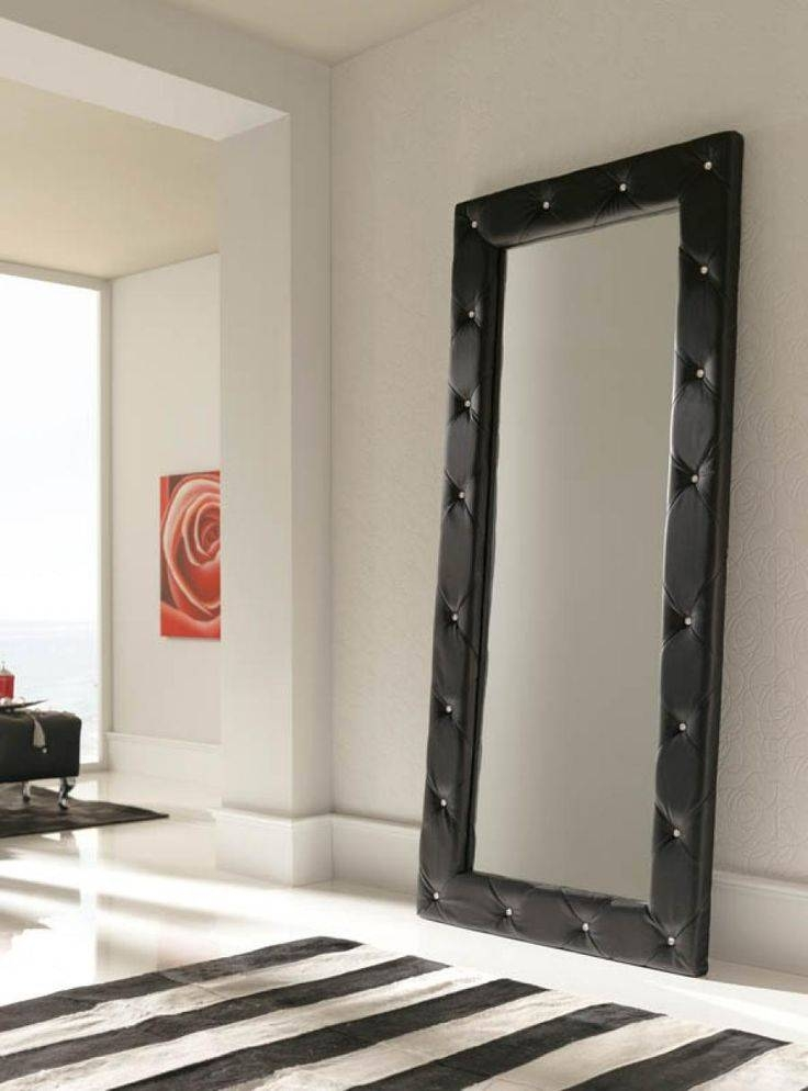 Luxurious Quilted 2 Metre Tall Black Wall Mirror – Full Length For Tall Wall Mirrors (#8 of 15)
