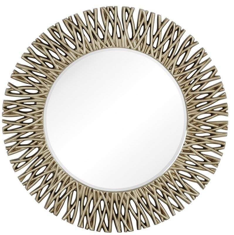 Majestic Mirror Large Round Antique Silver Decorative Beveled Within Large Circular Wall Mirrors (#15 of 15)