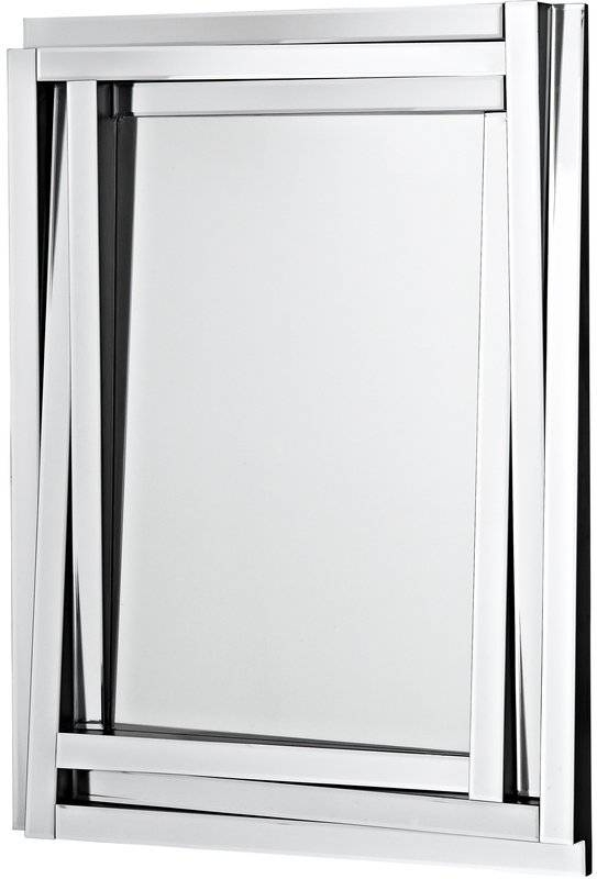 Majestic Mirror Modern Wood Framed Rectangular Beveled Glass Panel Intended For Glass Wall Mirrors (#6 of 15)