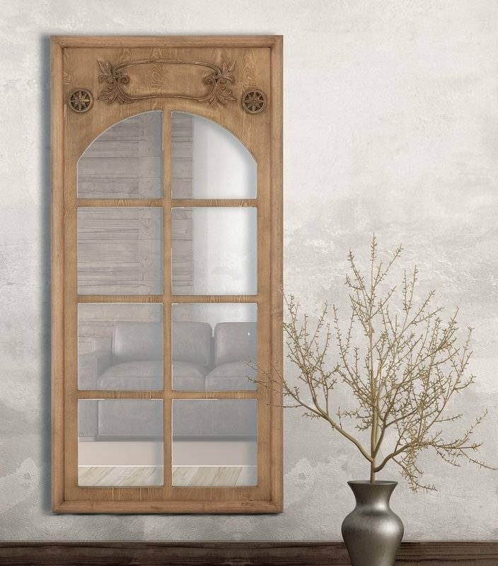 Majestic Mirror Natural Wood Stained Window Frame Decorative Wall With Regard To Window Wall Mirrors (#12 of 15)