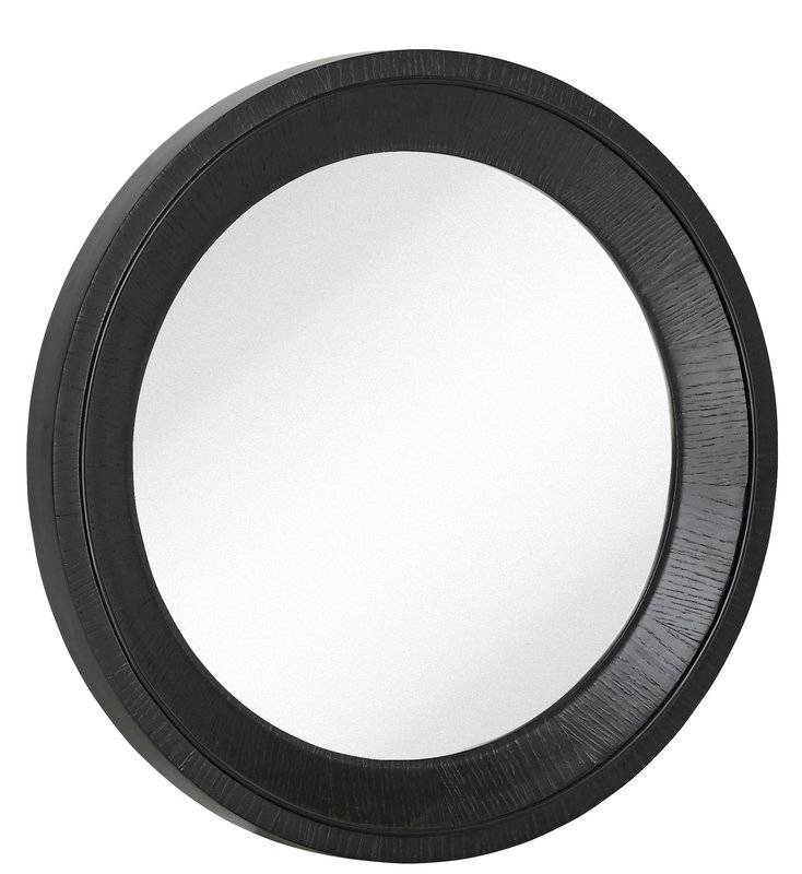 Majestic Mirror Round Black With Natural Wood Grain Circular Glass Throughout Black Round Wall Mirrors (#12 of 15)